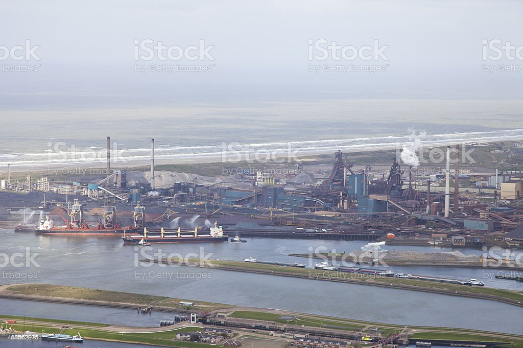 Steel industry at Velsen, The Netherlands from above stock photo