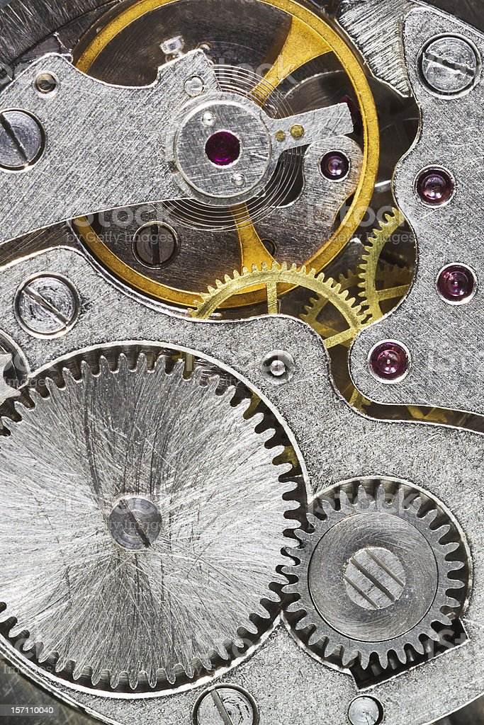 steel machinery of old mechanical watch royalty-free stock photo