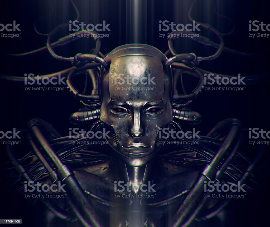 Steel man with wires and red eyes royalty-free stock photo