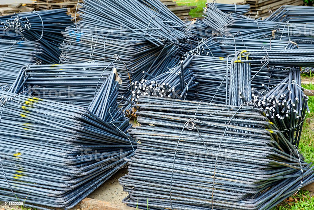 Steel material for concrete strengthening stock photo