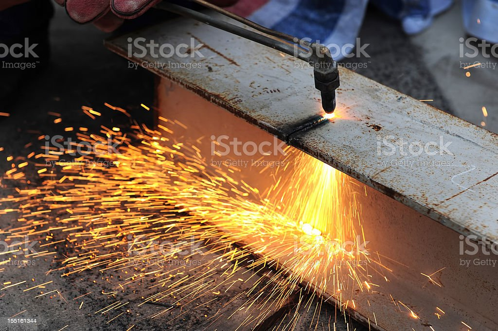 Steel Metal Cutting-Oxygen Fire Slicing Tubes With Sparks royalty-free stock photo