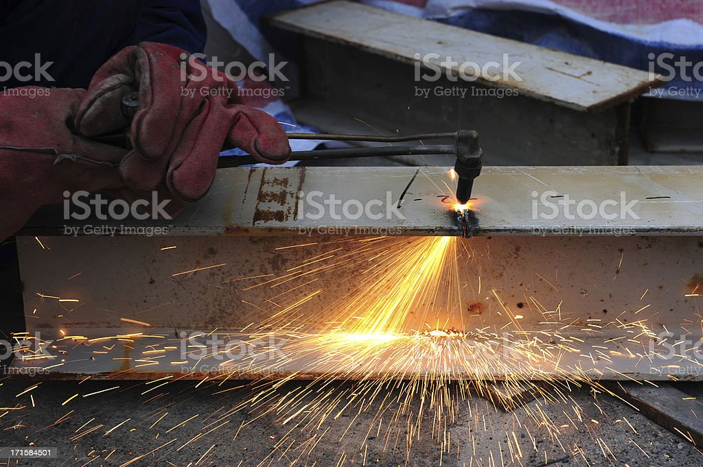 Steel Metal Cutting-Oxygen Fire Slicing Tubes With Sparks stock photo