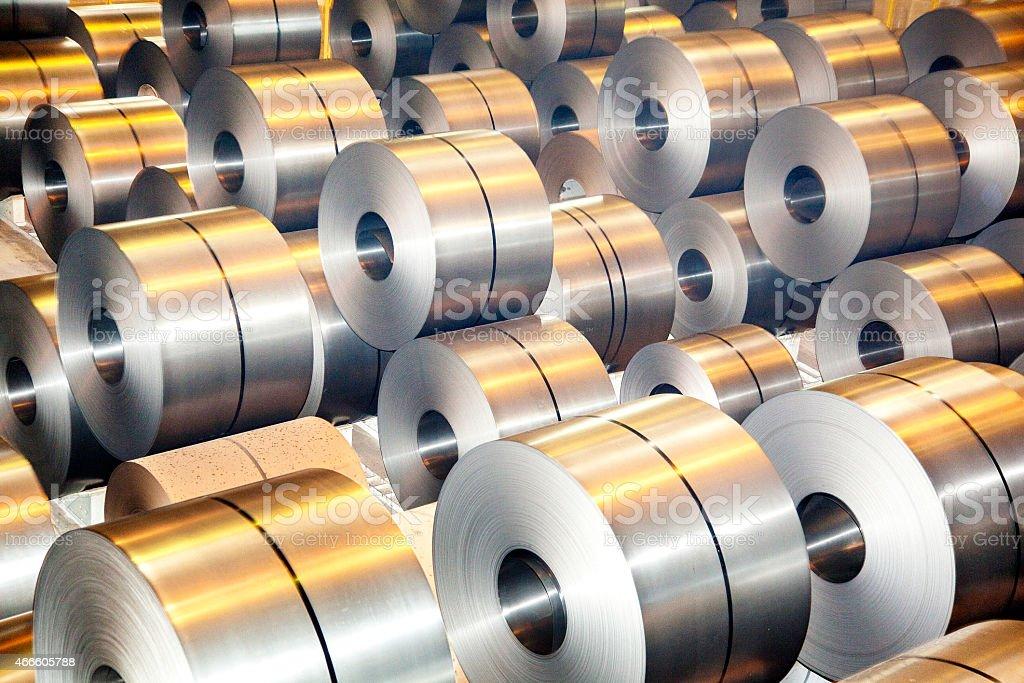 Steel metal-roll stock photo