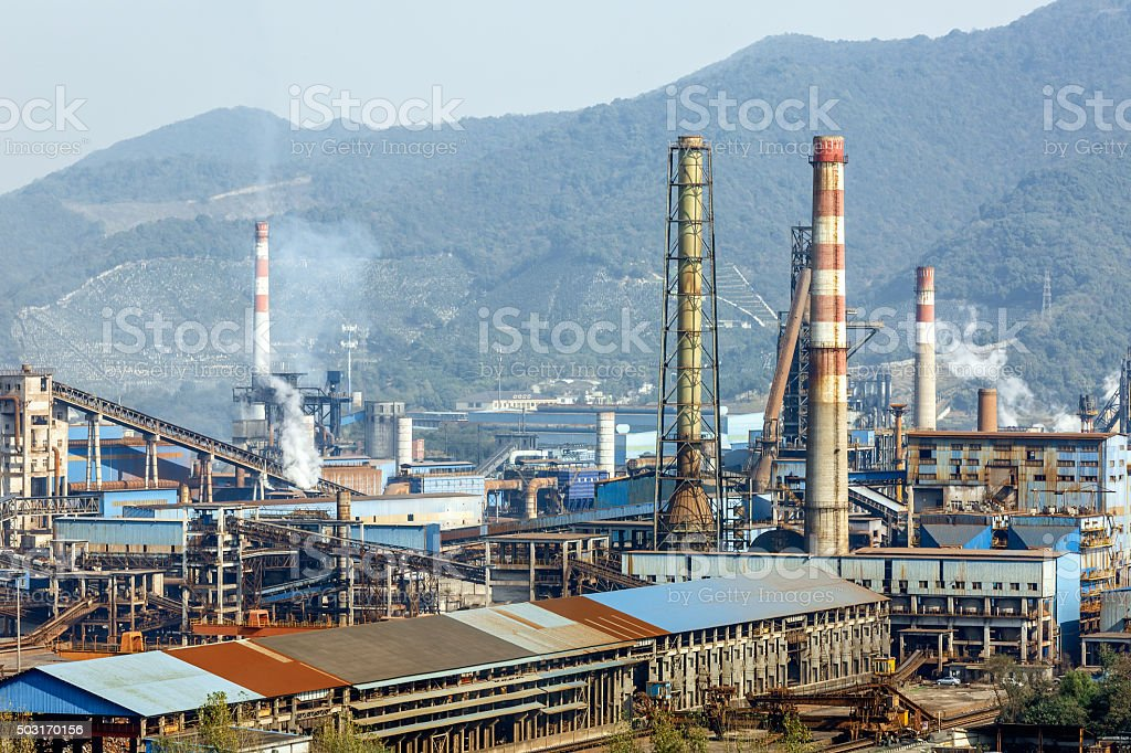 Steel mills Smoke and powder dust pollution in industrial District stock photo