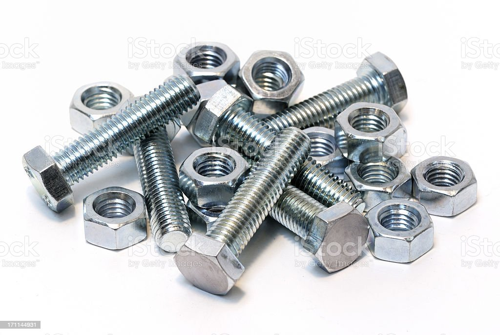 Steel nuts and bolts isolated on white stock photo