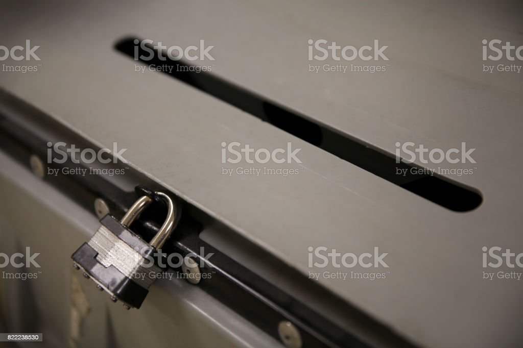 Steel Padlock stock photo