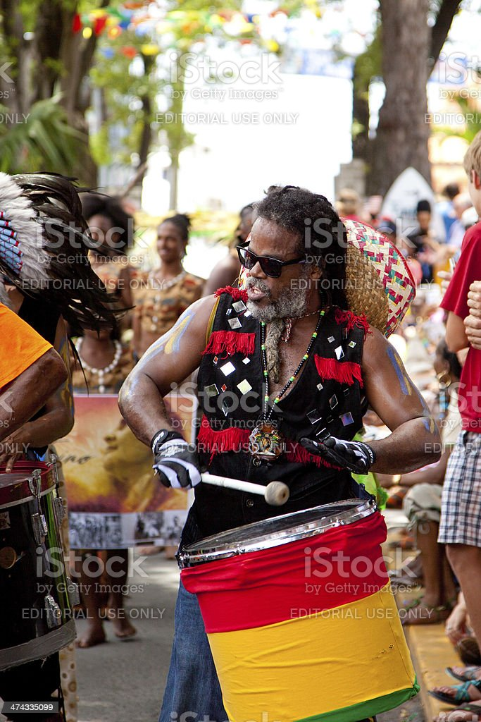 steel panist during 2013 Carnival in St. John, USVI stock photo