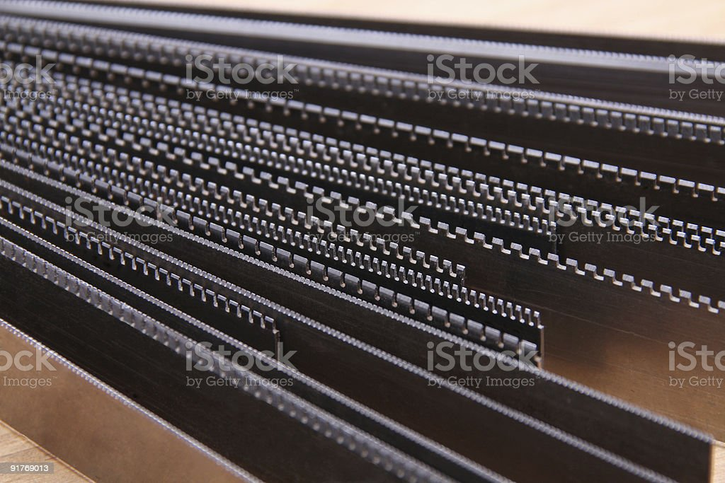 steel perforation rules stock photo