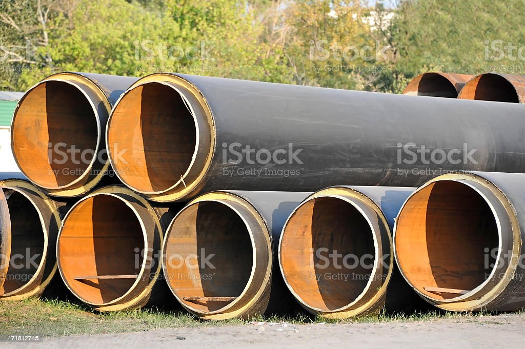 Steel pipe with heat insulation royalty-free stock photo