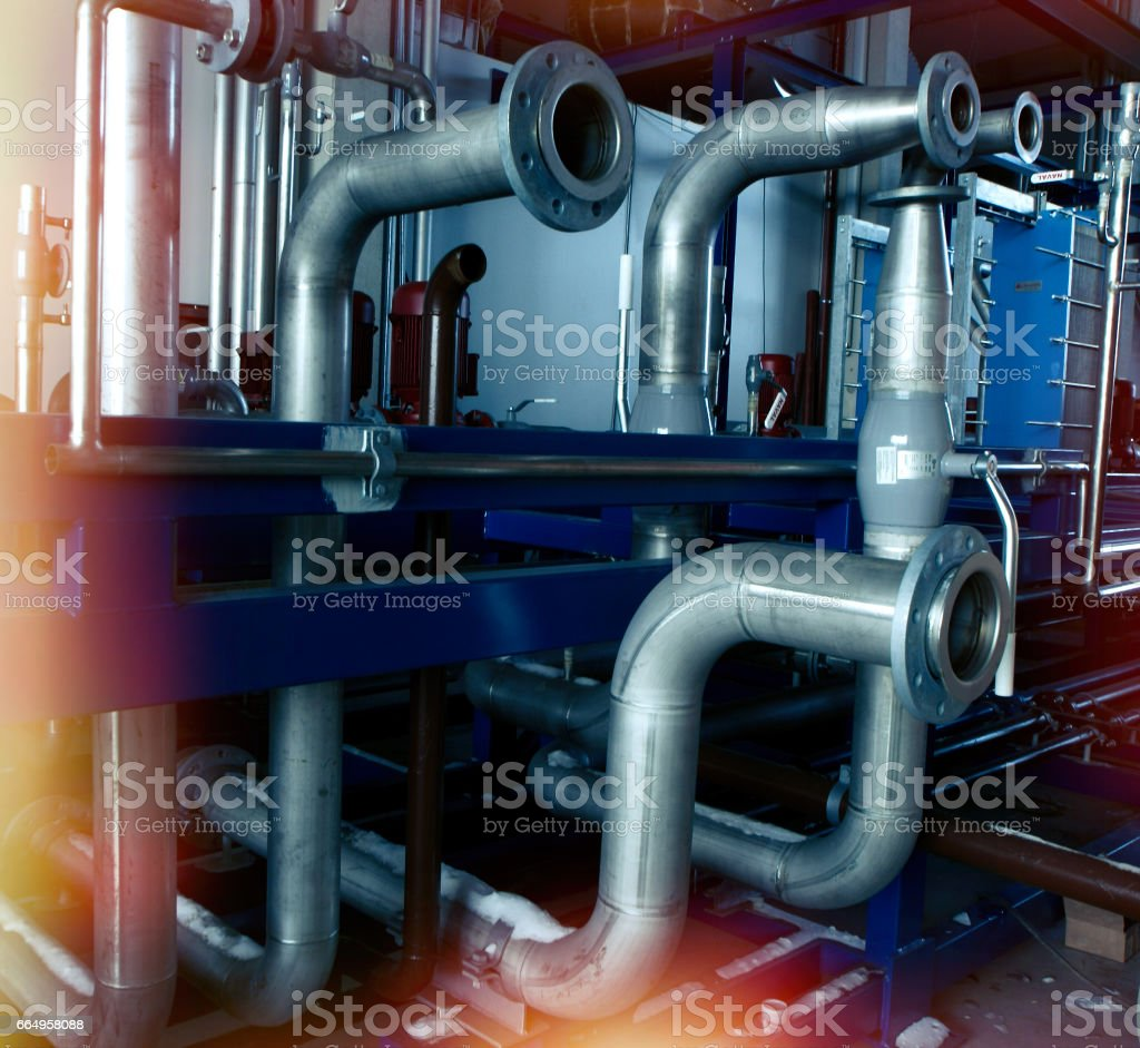 Steel pipelines and cables stock photo