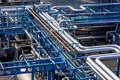 Steel pipelines in the Gas Refinery