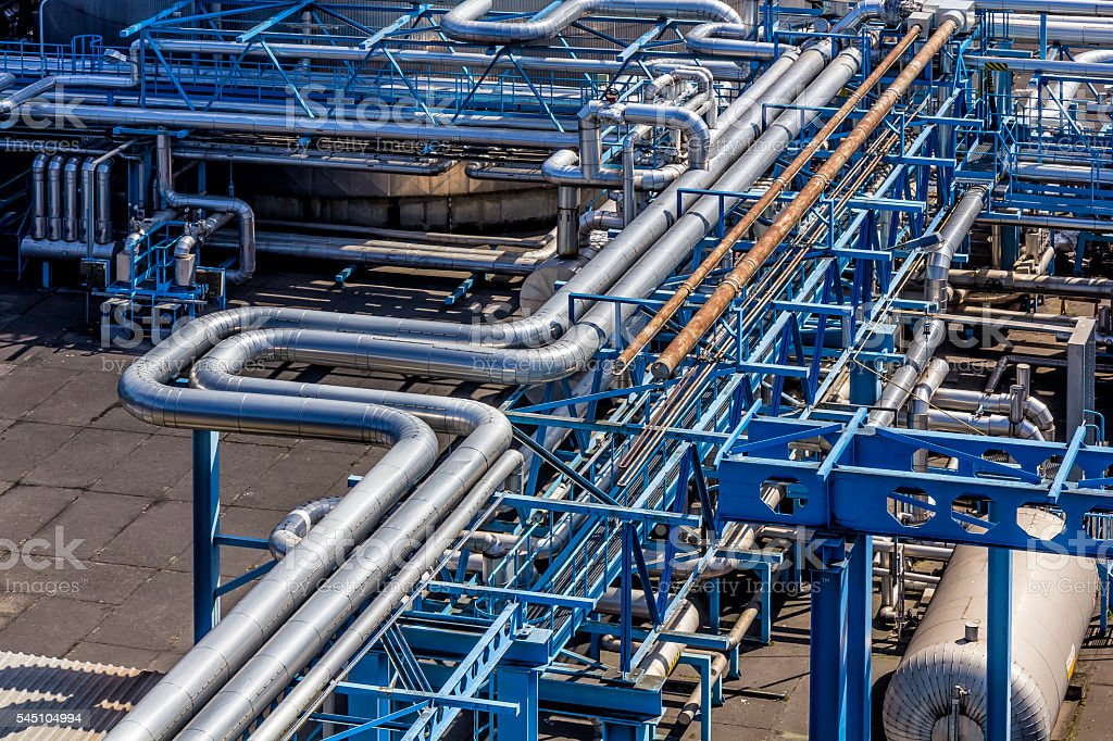 Steel pipelines in the Gas Refinery stock photo
