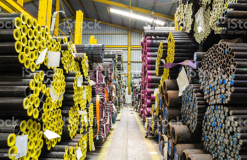 Steel pipes storage in warehouse stock photo