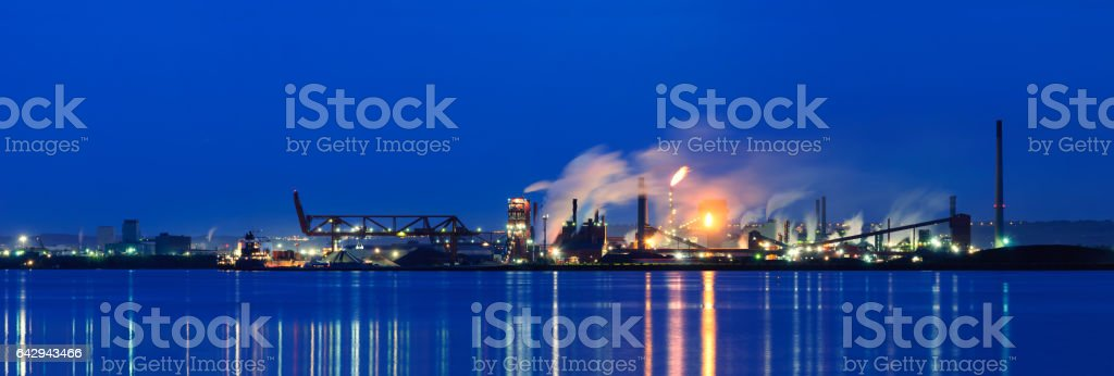 Steel Plant on the lakeshore stock photo