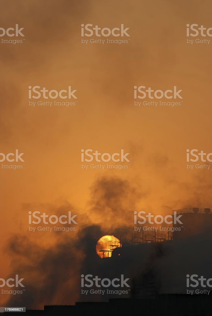 Steel plant silhouette,Pollution stock photo