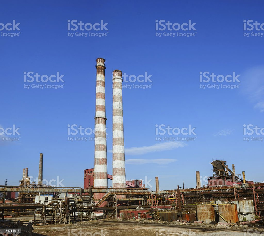 Steel plant with big chimney royalty-free stock photo