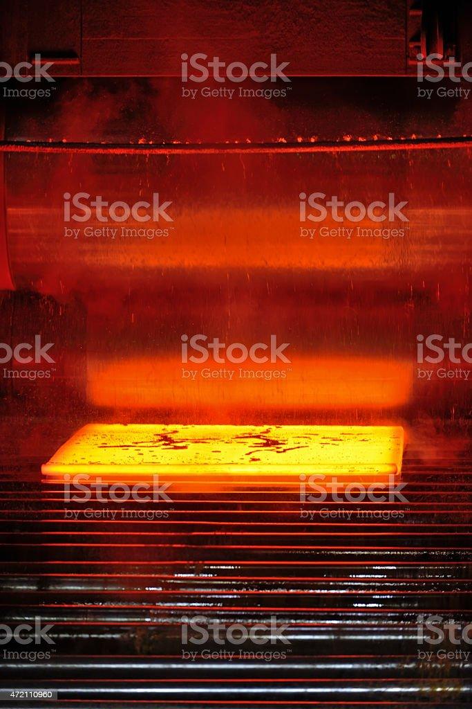steel plate on conveyor stock photo