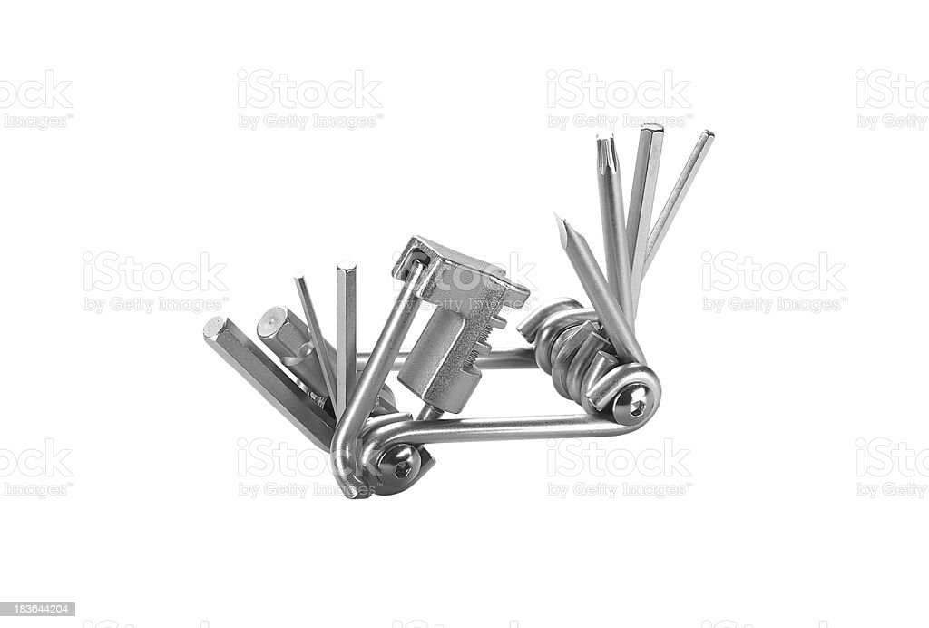 Steel pliers folding multi tool opened isolated royalty-free stock photo