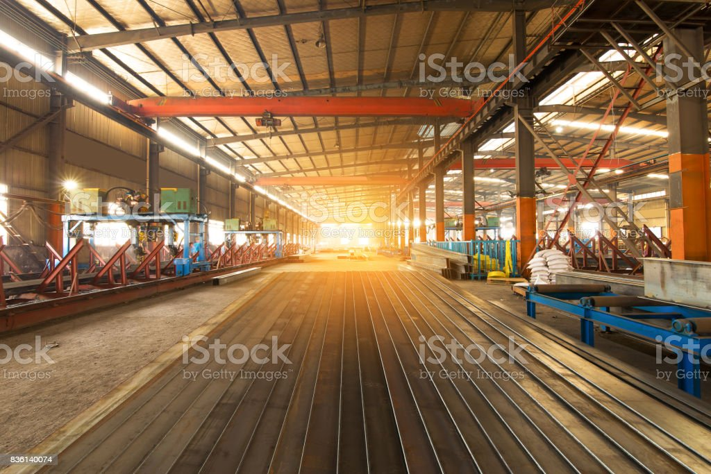 Steel production at the metallurgical plant stock photo