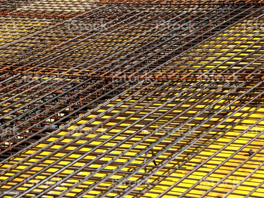 Steel reinforcement on construction site stock photo