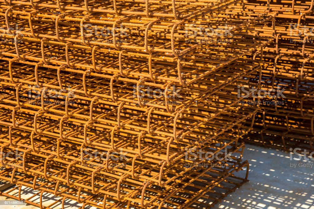 Steel reinforcing bars stock photo