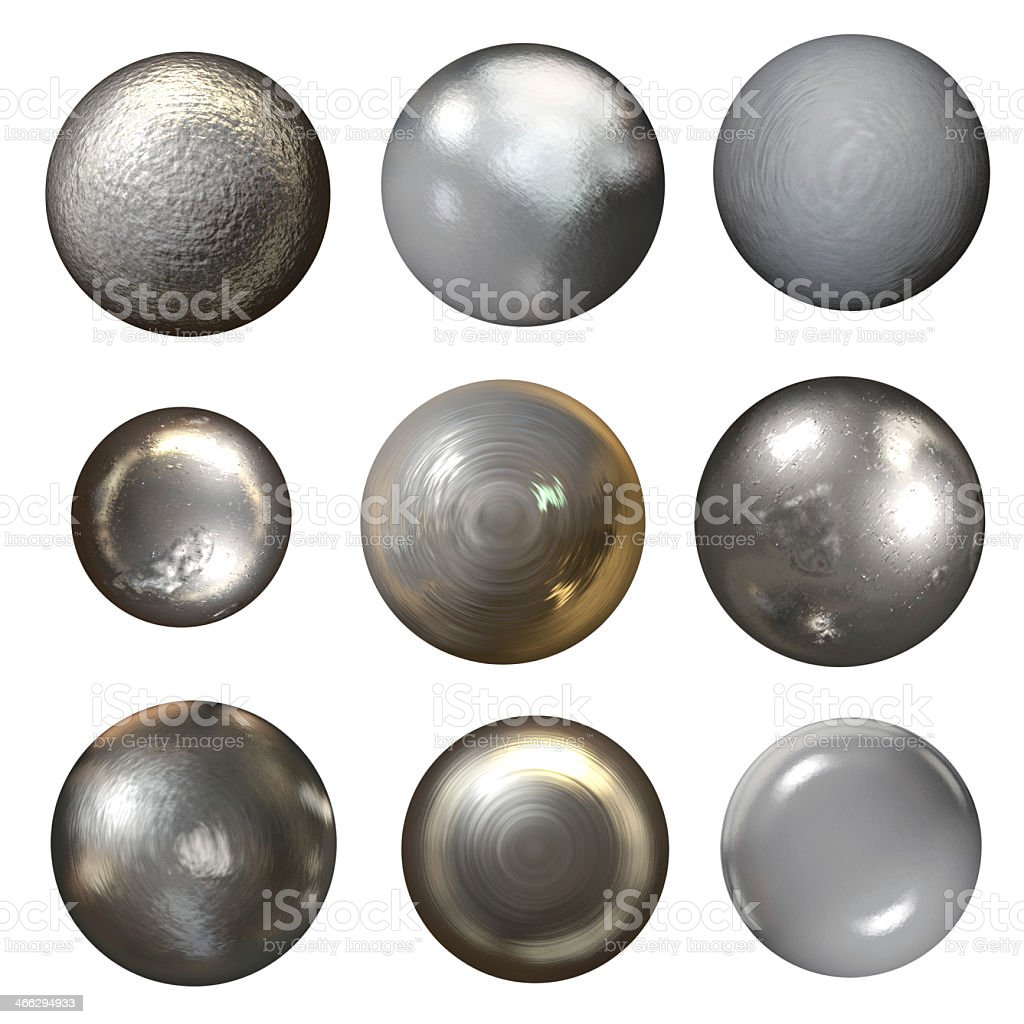 Steel rivet heads on a white background stock photo