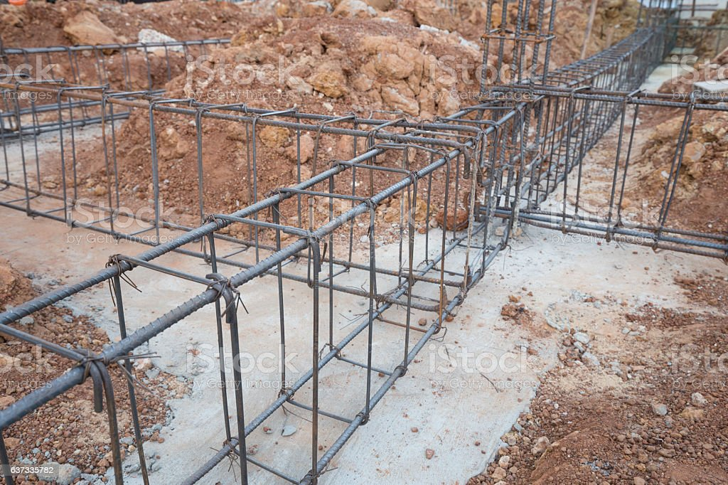 steel rod for beam and pillar at construction site stock photo