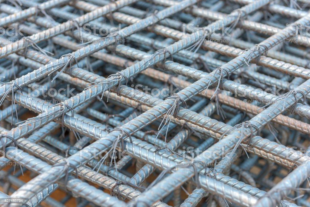 Steel rods bars can used for reinforce concrete stock photo