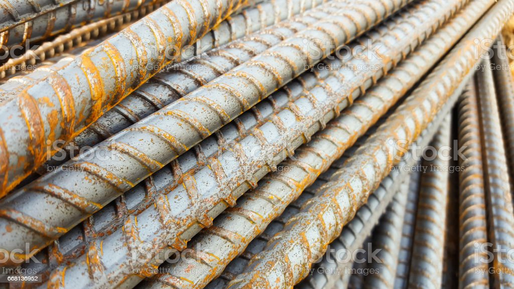 Steel rods or bars. stock photo