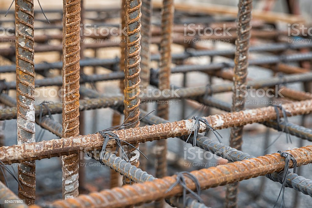 Steel rods used to reinforce concrete stock photo