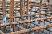 Steel rods used to reinforce concrete