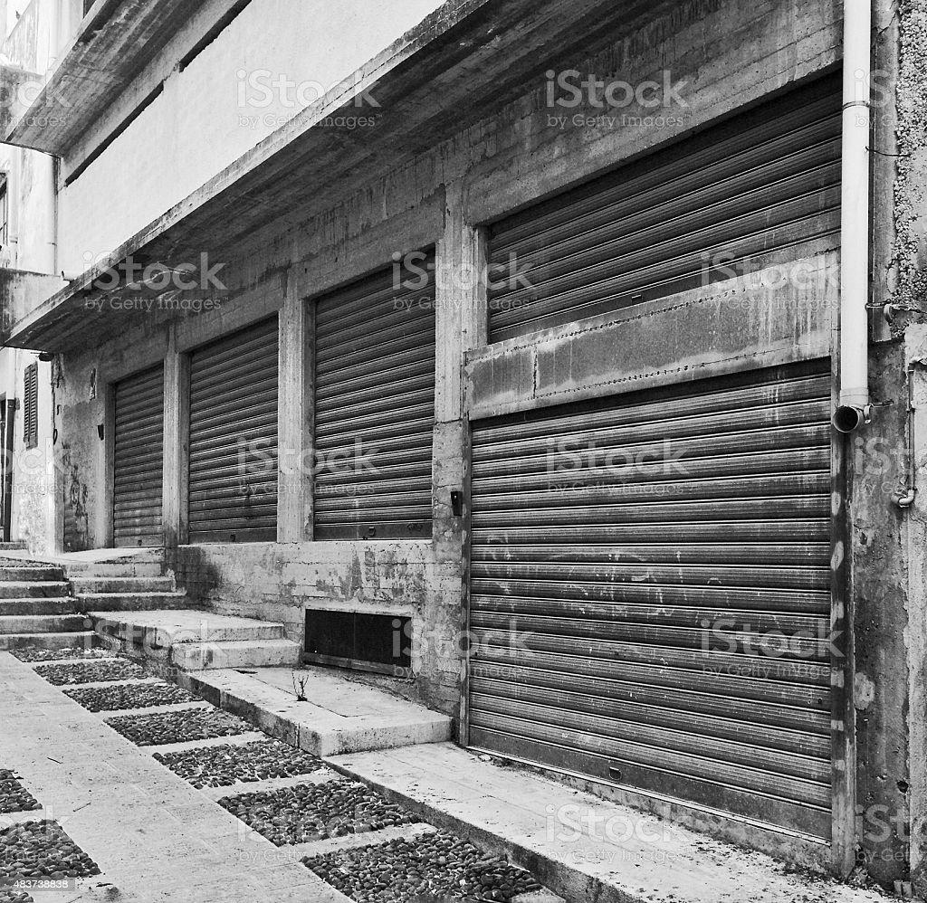 Steel rolling shutters - garage entry stock photo