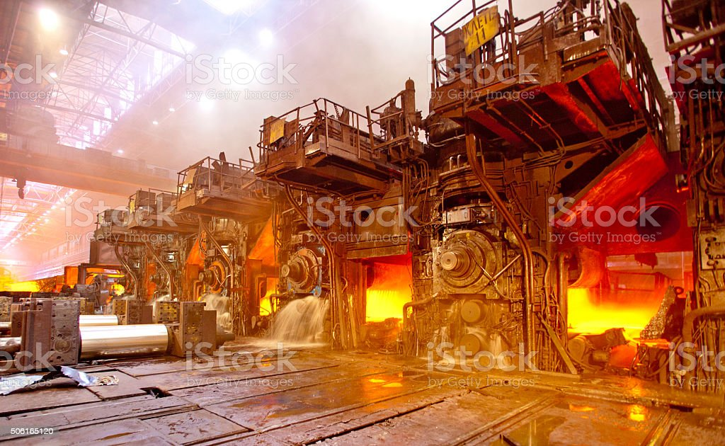 Steel rolling workshop stock photo