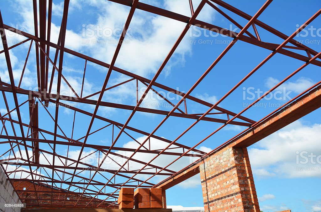 Steel roof trusses details. Roofing Construction. Industrial roofing. stock photo