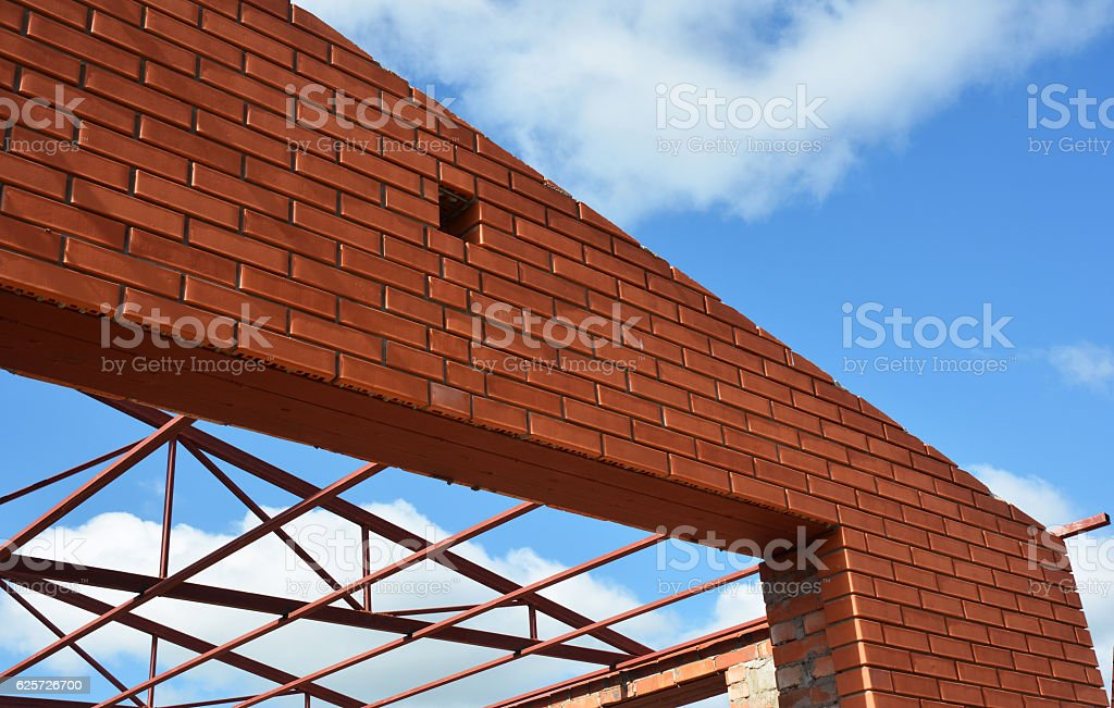 Steel roof trusses details. Roofing construction. stock photo