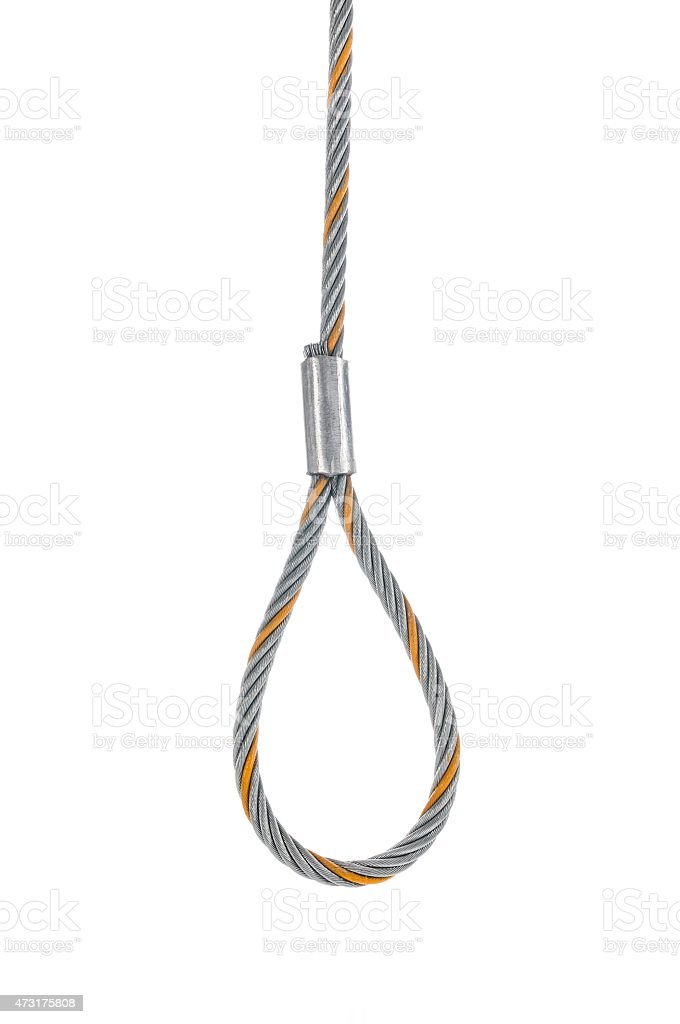Steel rope, hanging gallows, isolated on white background, studio shot stock photo