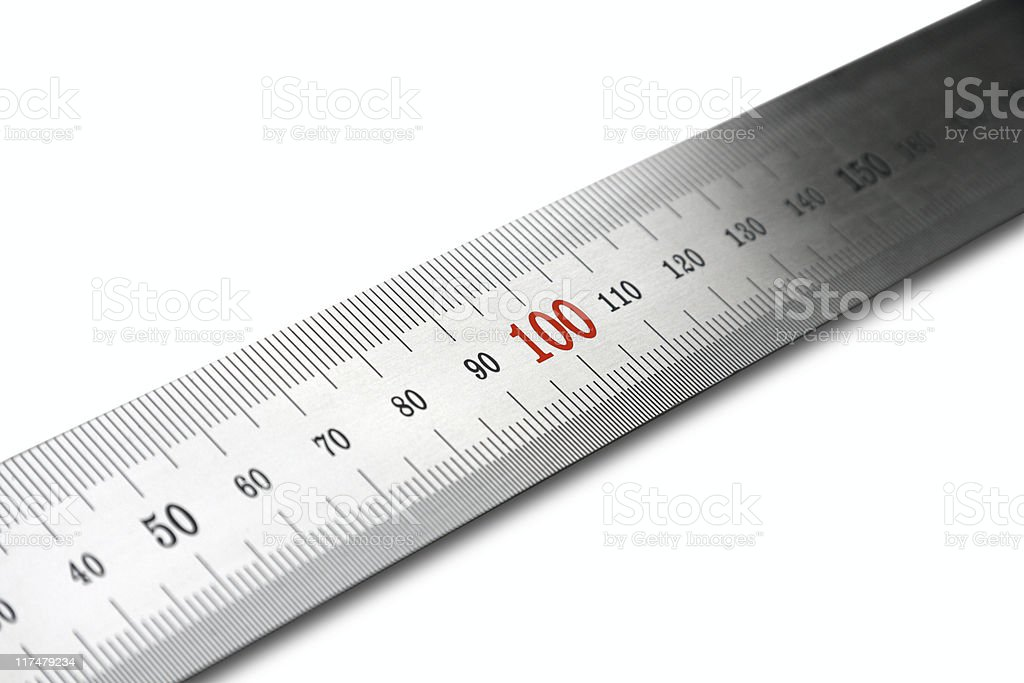 Steel ruler. Diagonal view. Isolated. royalty-free stock photo