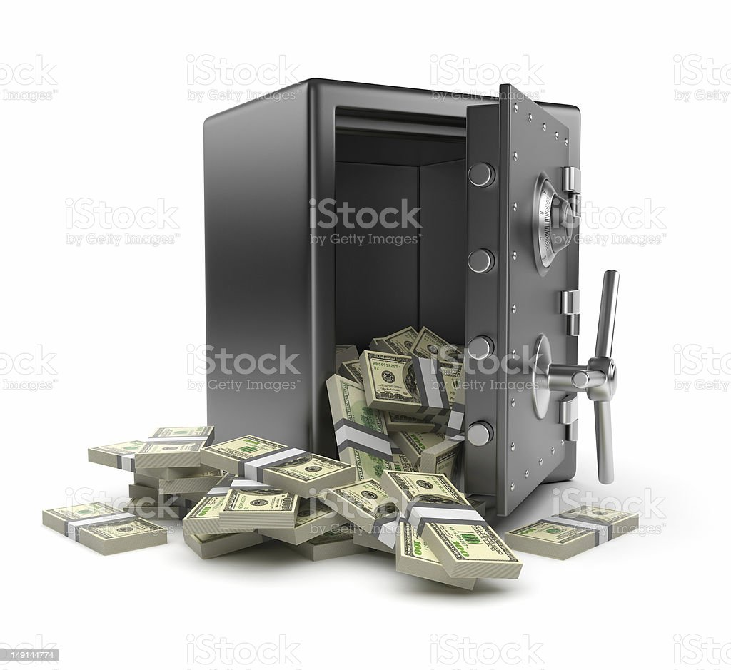 Steel safe box and money 3D. Isolated stock photo