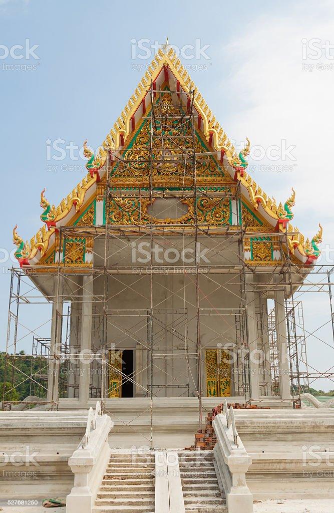 Steel scaffold around thai temple construction royalty-free stock photo