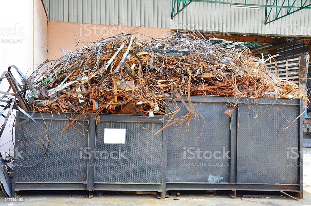 Steel scrap area stock photo