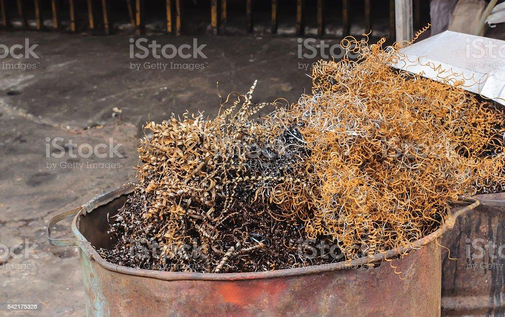 Steel Scrap from lathe in bin. stock photo