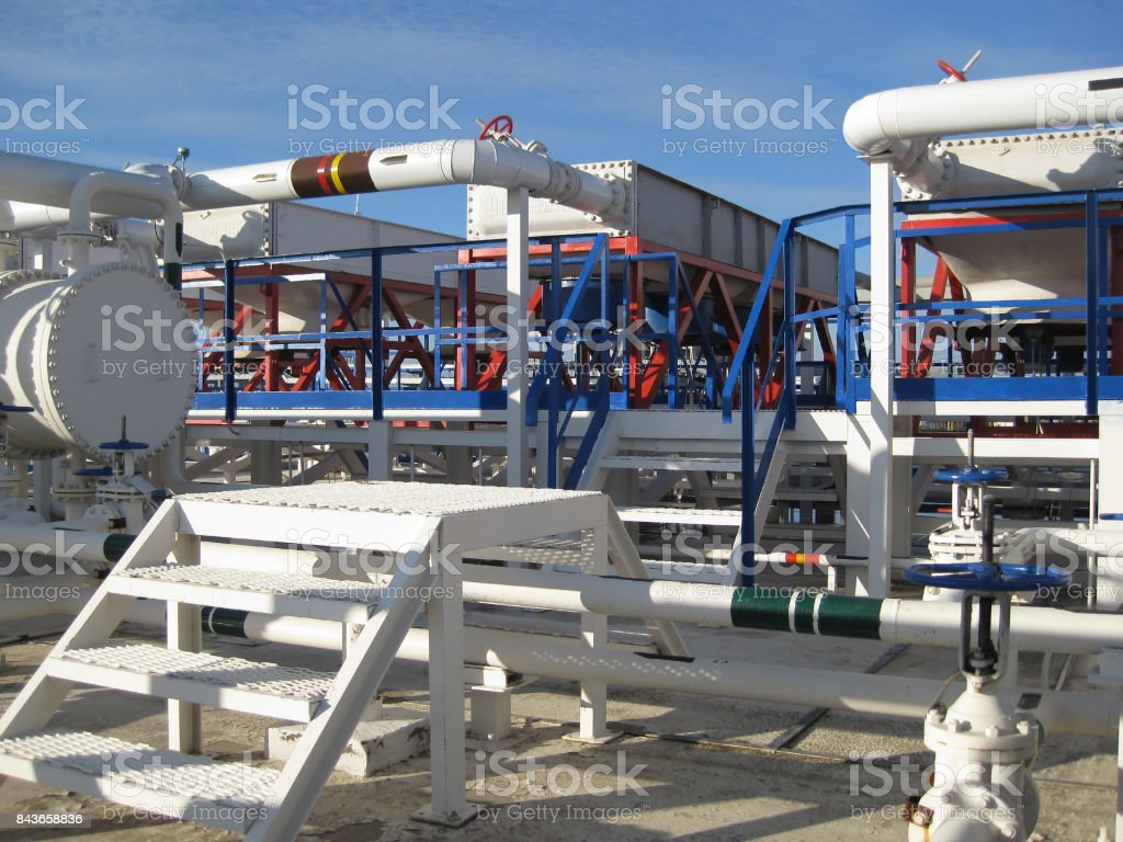 Steel service platform and stairs stock photo