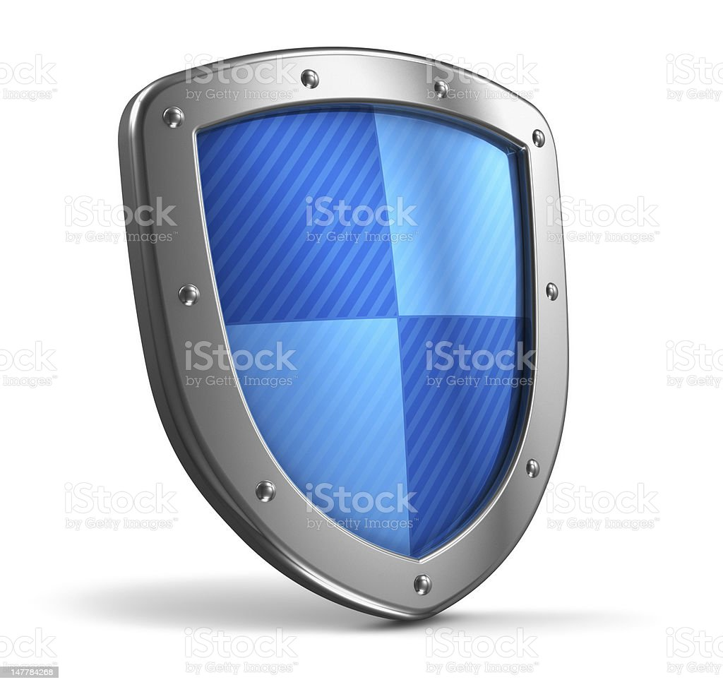 A steel shield with blue pattern royalty-free stock photo