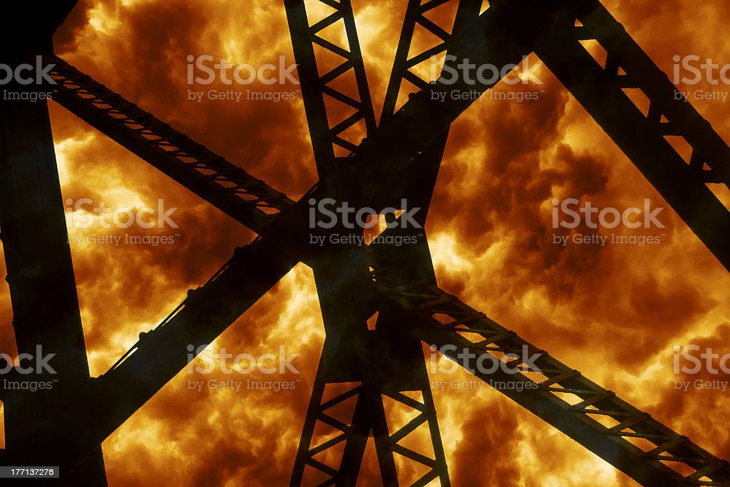 Steel Silhouette Explosion stock photo