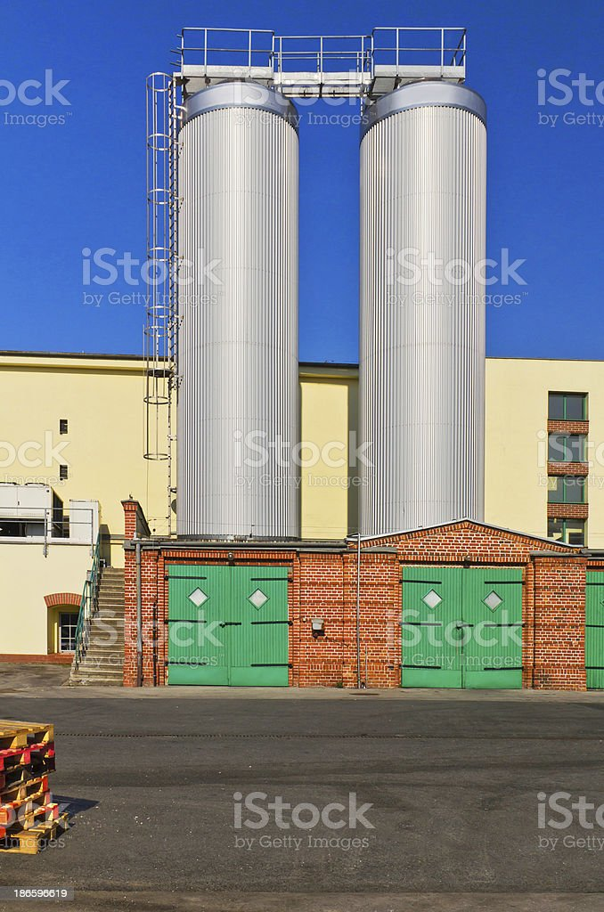 Steel silos in the brewery royalty-free stock photo