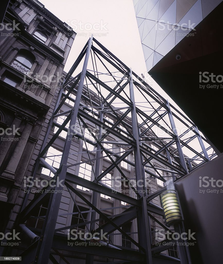 Steel skeleton supporting building facade royalty-free stock photo
