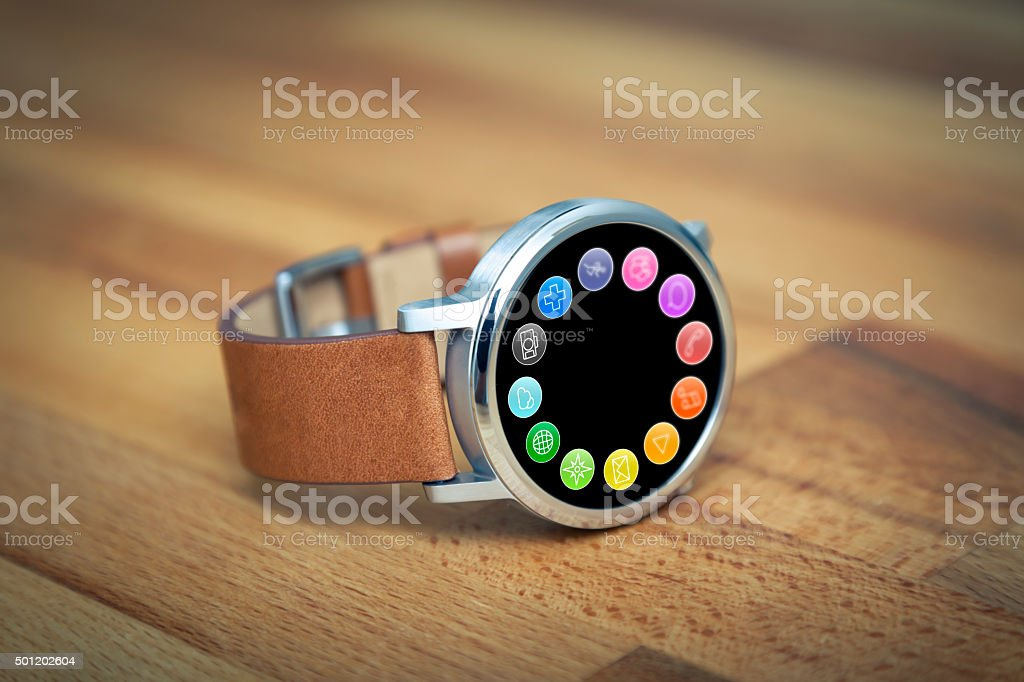 Steel Smartwatch with Apps on Screen stock photo