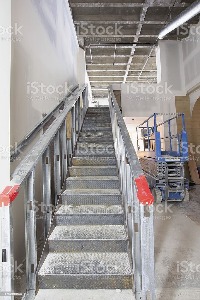 Steel Staircase Construction in Commercial Space stock photo