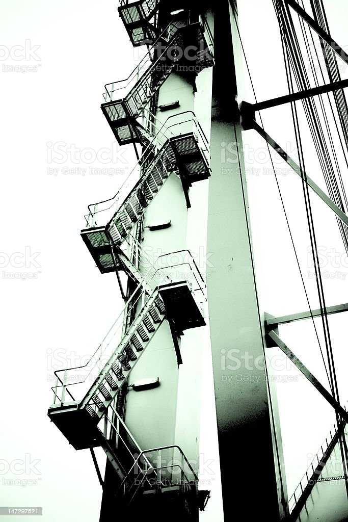 Steel stairs to the bridge royalty-free stock photo