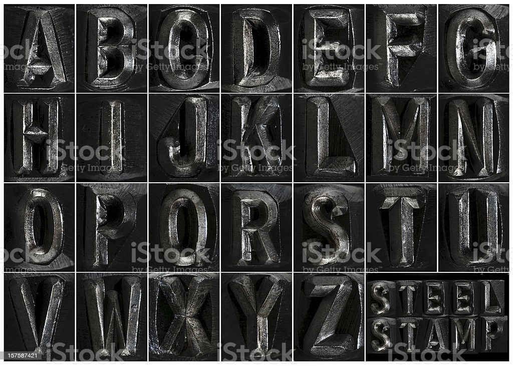 Steel Stamp Complete Alphabet royalty-free stock photo